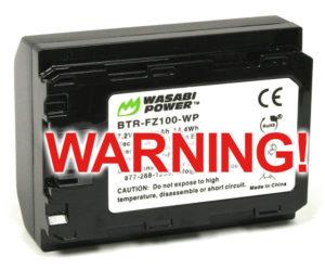 Wasabi BTR FZ100 WP Warning