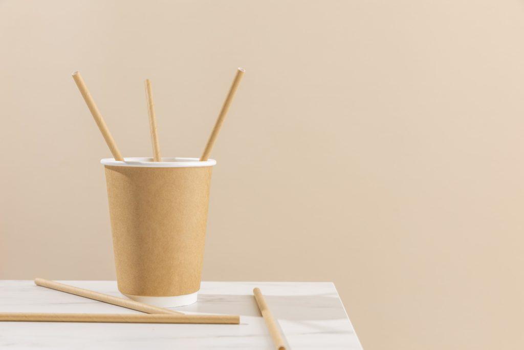 paper cup straws arrangement